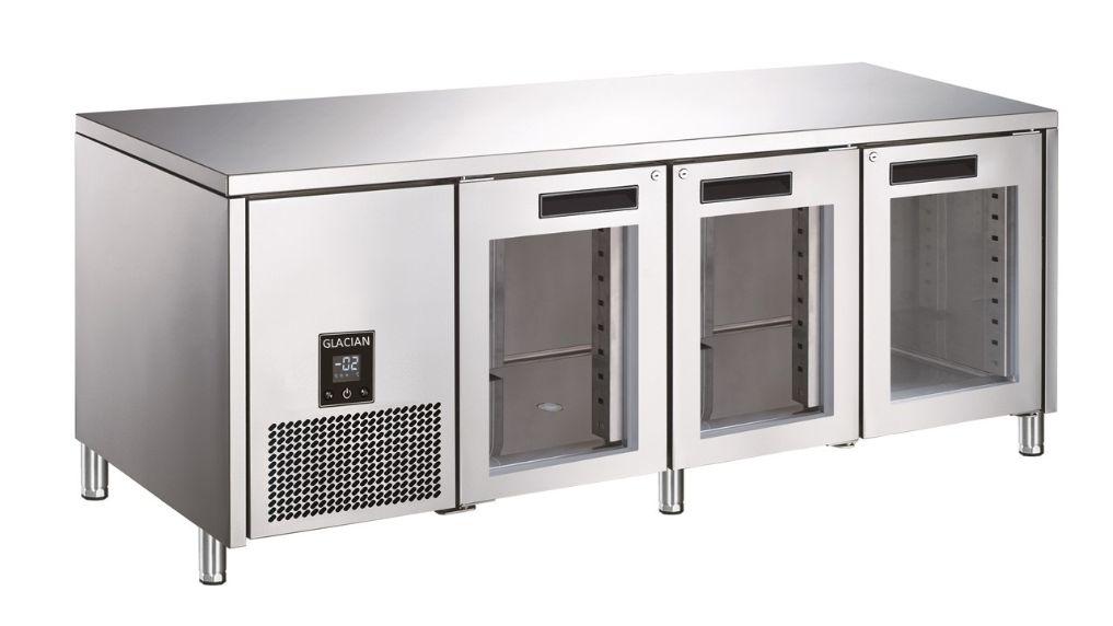 Glacian BCG61885 Slimline 660mm Deep 3 Door Glass Underbench Fridge