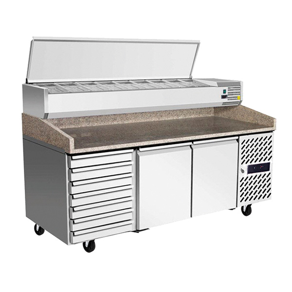 Atosa EPF3480 2 Door Refrigerated Pizza Table with Drawers 2010 mm