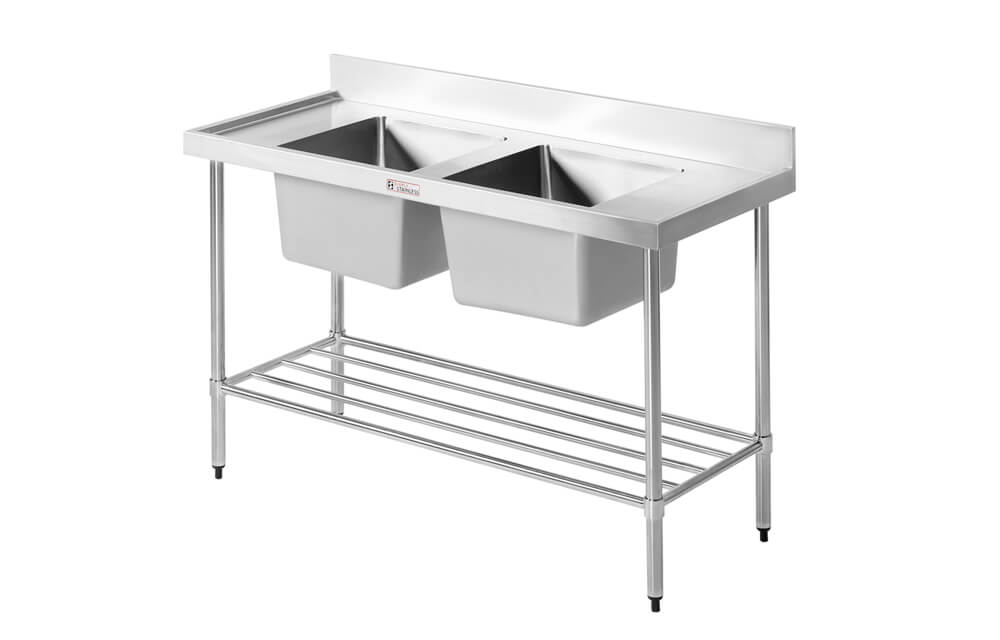 Simply Stainless SS06.1500.LB Double Sink with Splashback