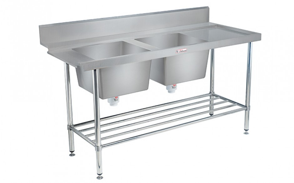 Simply Stainless SS09.1800.DBR Double Sink Dishwasher Inlet Bench