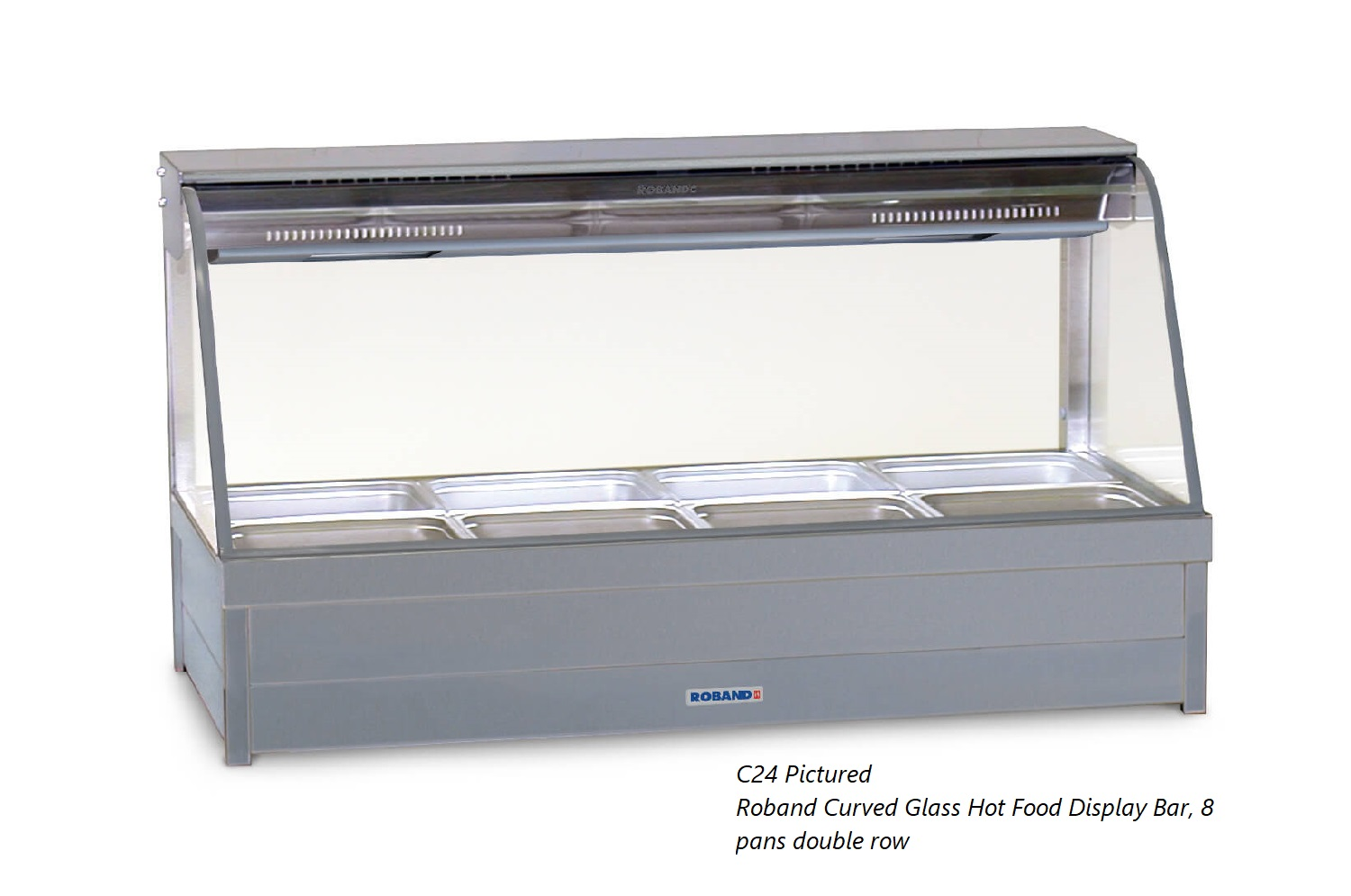 Roband Curved Glass Hot Food Display Bar, 10 pans double row